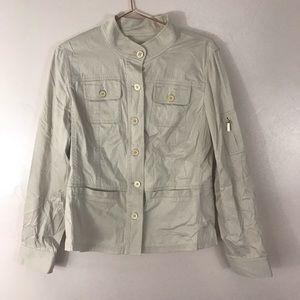 Jones New York signature stretch cream jacket gold buttons size medium